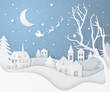 Vector winter night landscape with fir trees, houses, moon, santa's sleigh, stars, deers and snow in paper cut style. Festive layered background with 3D realistic paper Christmas Village and snowfall.