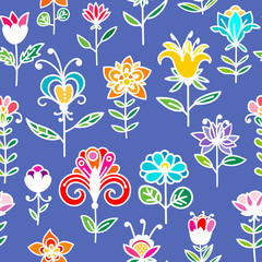Doodle abstract colorful floral seamless pattern. Hand drawn flower background. Vector illustration.