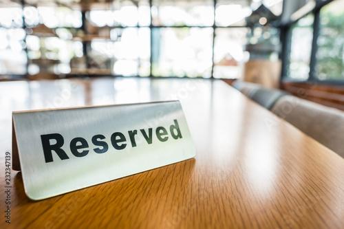 Fotografija Reserved Table Sign in Cafe