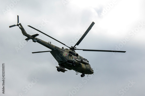 Russian military transport helicopter MI-8MTSh. Name on NATO codification: - Hip.