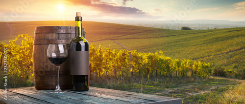 Garden Poster Vineyard Red wine with barrel on vineyard in green Tuscany, Italy