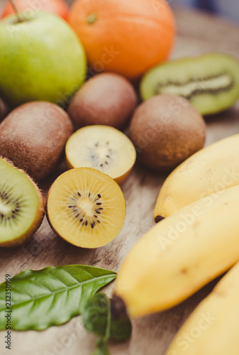 Foto op Aluminium Vruchten Exotic fruits close up/toned photo