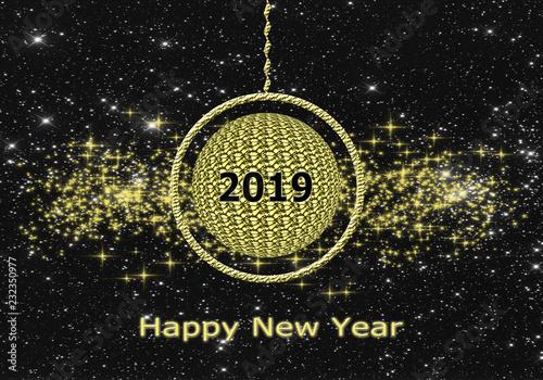 Fotografía  Felicitación, año nuevo, fondo, tarjeta, estrellas doradas y bola