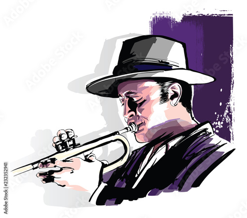 Deurstickers Art Studio Trumpet player on grunge background
