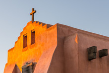 Adobe Church And Rustic Wooden...
