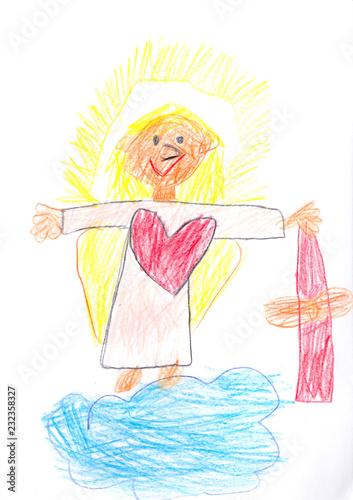 Fototapeta Das Christkind aus dem Himmel bringt Geschenke auf die Erde