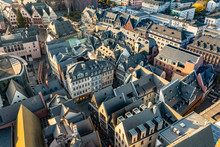 Scenic Aerial View To Frankfurt New Old Town
