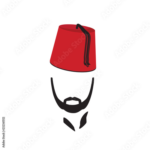Turkish Man Wearing Fez Logo In Isolated White Background Canvas Print