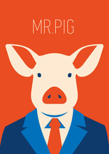 Vector Portait Of A Pig In Sui...
