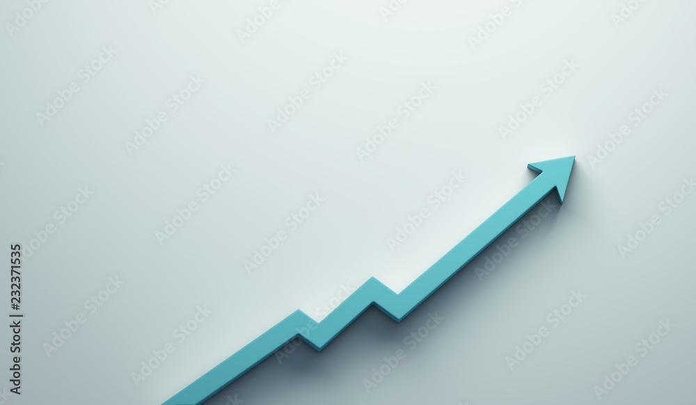 Fototapeta Graph Arrow of Improvement. 3D Render Illustration.