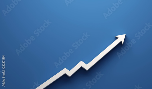 Graph Arrow of Improvement. 3D Render Illustration. Canvas Print