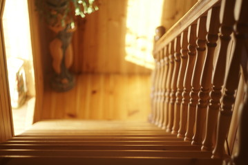 wooden pine stairs