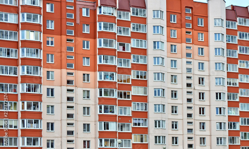Deurstickers Oost Europa Facade of multistory apartment house. Urban landscape. Wonderful modern building. Block of flats.