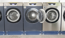 Set Of Washing Machines In Laundromat