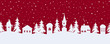 Fairy tale winter landscape. Seamless border. Christmas background. There are white silhouettes of fantastic houses and trees on a red background. Vector illustration