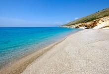 Pebble Beach In Bay, Coast South Of Lukova, Albanian Riviera, Qark Vlora, Albania, Europe