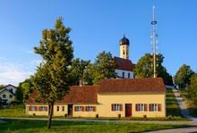 Poor House And Church St. Georg And St. Wendelin, Lindenberg At Buchloe, Ostallgau, Allgau, Swabia, Bavaria, Germany, Europe