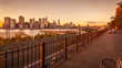 View of Lower Manhattan and East River from Brooklyn Heights at sunset, New York City, USA