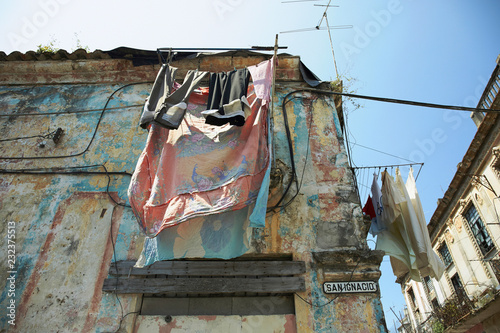 typical day in one of the streets of Havana, Cuba. Wallpaper Mural
