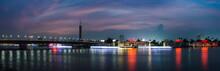 Cairo Night Panoramic And Light Trails.