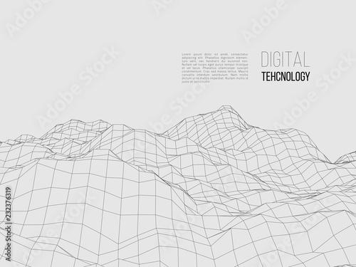 Tuinposter Lichtblauw Wireframe polygonal landscape. Digital 3d terrain. Vector illustration.