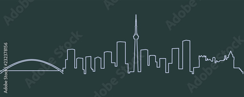 Toronto Single Line Skyline Canvas Print