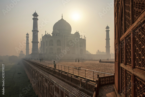 The beautiful Taj Mahal in the morning, Agra - India Canvas Print