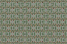 Greenish Gray Seamless Background Of Stylized Ornament Of Intertwined Birds Holding Its Tails By Beaks
