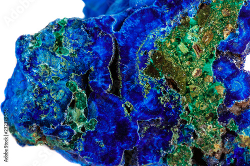 Macro mineral stone malachite with azurite on white background Wallpaper Mural