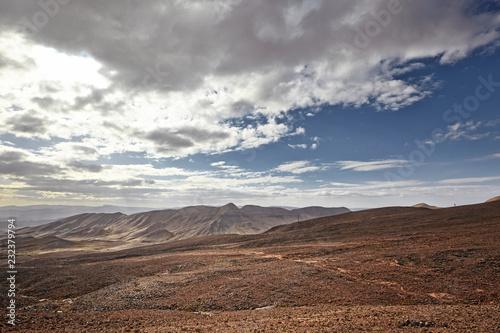 Staande foto Diepbruine Desert mountain scenery. Moroccan desert scenic landscape