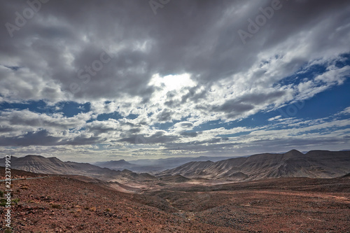 Landscape with road and mountains in the Zagora region, Morocco