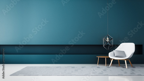 Fotografija  chair & Blue wall modern living room / 3D render interior