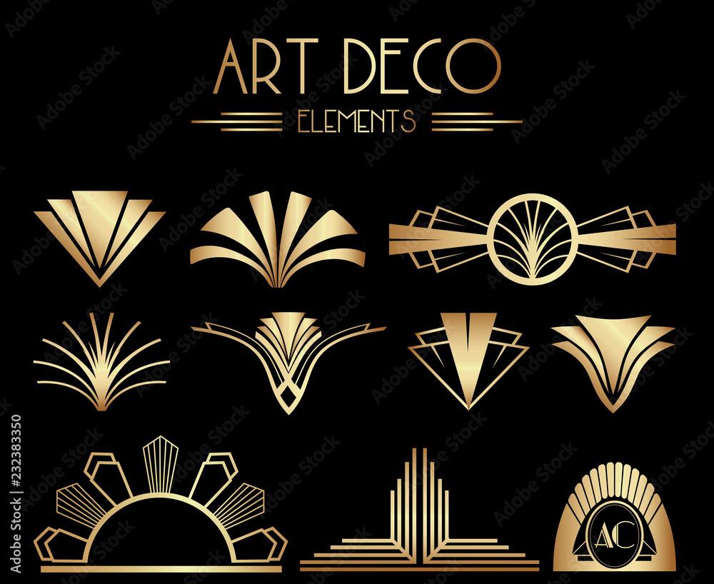 Fototapety, obrazy: Geometric Gatsby Art Deco Ornaments or Decoration Elements