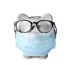 Piggy Bank With Glasses And Fa...