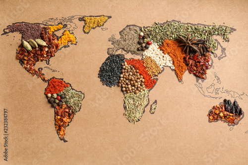 Printed kitchen splashbacks Aromatische Paper with world map made of different aromatic spices as background, top view