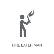 Fire Eater Man Icon. Trendy Fi...