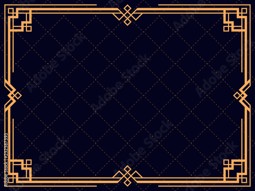 Obraz Art deco frame. Vintage linear border. Design a template for invitations, leaflets and greeting cards. The style of the 1920s and 1930s. Vector illustration - fototapety do salonu