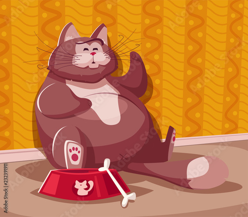 Printed kitchen splashbacks Cats Funny fat cat. Cartoon vector illustration. Character design