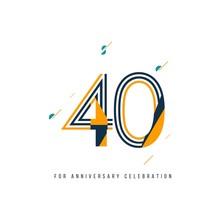 40 Year Retro Anniversary Celebration Vector Template Design Illustration