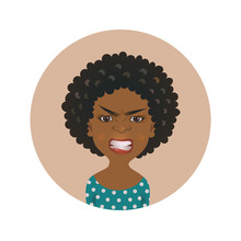 Afro American Angry Woman Face Avatar. African Girl Anger Facial Expression. Dark-skinned Person In Rage.