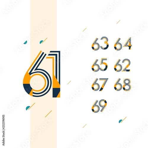 Fotografia  61 Year Retro Anniversary Set Celebration Vector Template Design Illustration