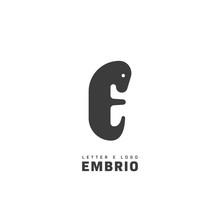 Mammal Embryo Logo. Letter E Shape Logo Icon Symbol
