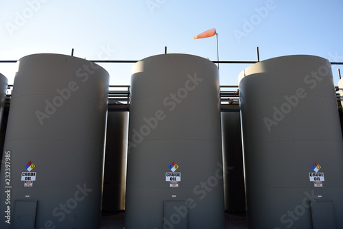 Crude oil production storage holding tanks in the Niobrara Shale of Wyoming, USA Wallpaper Mural