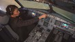 The cockpit of the aircraft. The pilot checks the plane before takeoff. Preparation of passenger airliner for takeoff. The pilot adjusts the autopilot. 4k
