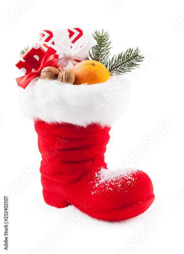 Nikolaus Stiefel Gefüllt Mit Geschenken Und Süßigkeiten Isoliert