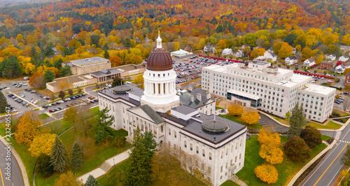 Capitol Building State House Augusta Maine Autumn Season Aerial Canvas Print