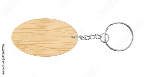 Photo  wooden key chain with rings isolated on white background