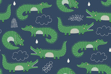 Seamless Vector Pattern With Cute Crocodiles In Green On A Blue Background