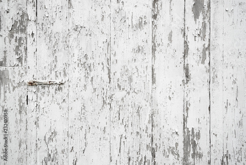 Obraz Old painted weathered wood textured background with long boards lined up. Wooden planks on a wall or floor with grain and rough vintage texture. Light neutral flat faded and washed out tones. - fototapety do salonu