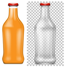 Orange Juice And Empty Bottle